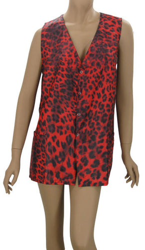 Plus Size Red Leopard Hair Salon Stylist Vest