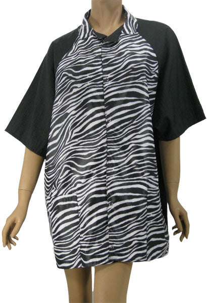 Zebra Black Unisex Stylist Hair Salon Groomer Shirt Medium