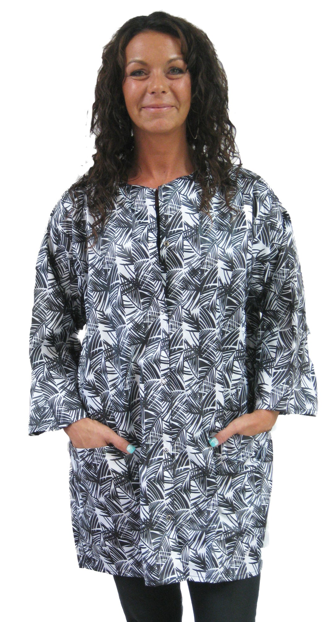 Hair Cutter Dog Groomer Smock Jacket Bamboo Print Regular Or Plus Size