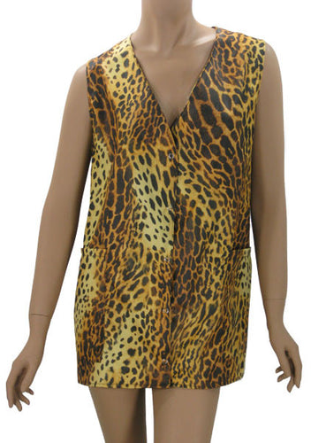Plus Size Hair Salon Vest Cheetah