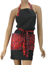 Fashion Salon Apron In Black With Red Leopard Trim