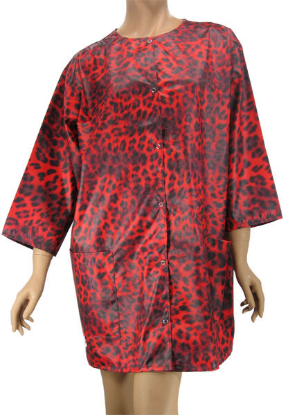 Hair Dresser Jacket Red Leopard