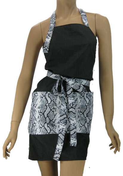 Cute Hair Stylist Apron In Lightweight Black With Python
