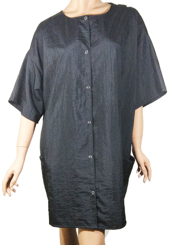 Work Smock Jacket Short Sleeve Lightweight Black Nylon Water Stain Resist Finish One Size