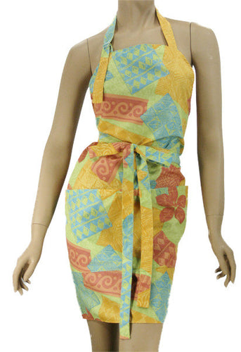 Pretty Salon Apron In Woodblock Tropical Print