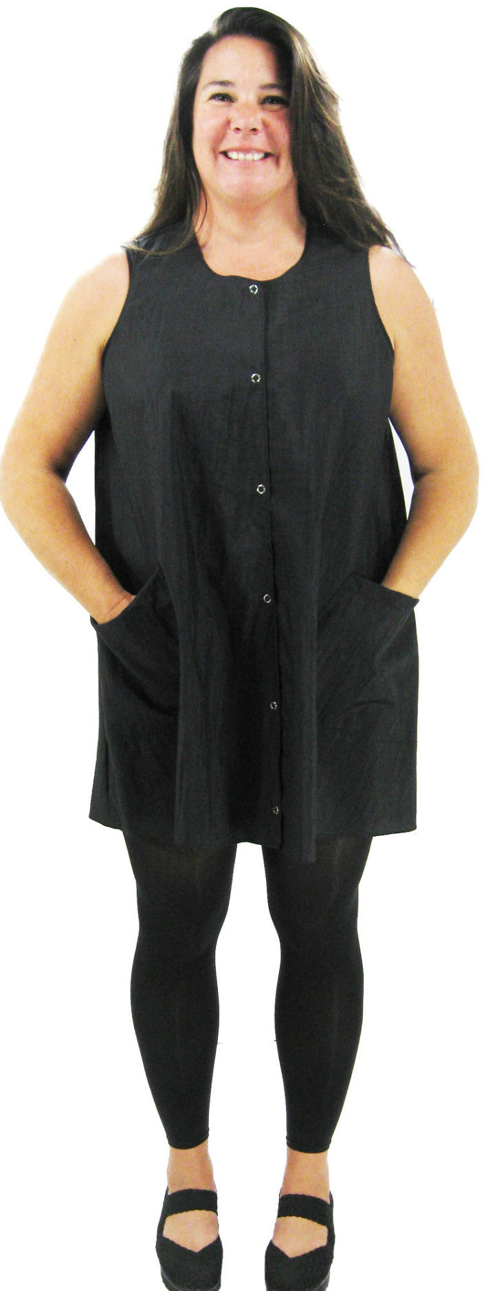 Hair Dresser Smock In Black Nylon Front