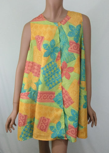 Hair Dresser Dog Groomer Sleeveless Smock Tropical Summer Print