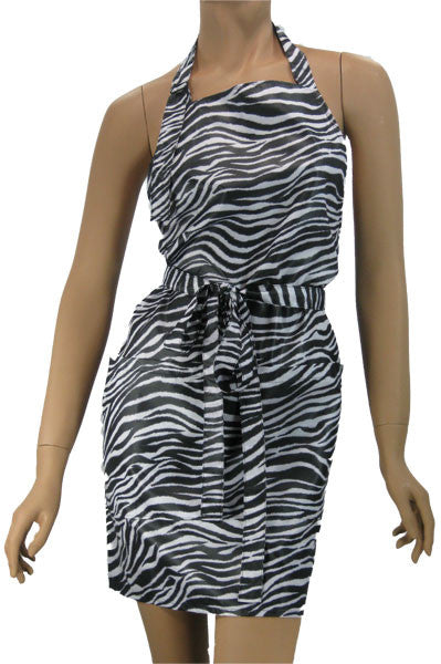 Zebra Hairdressers Apron Black and White