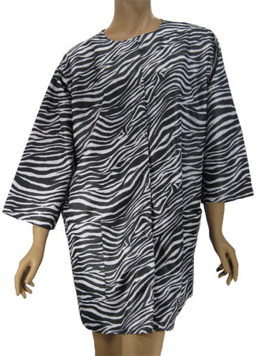 Plus Size Salon Styling Jacket In Zebra Print