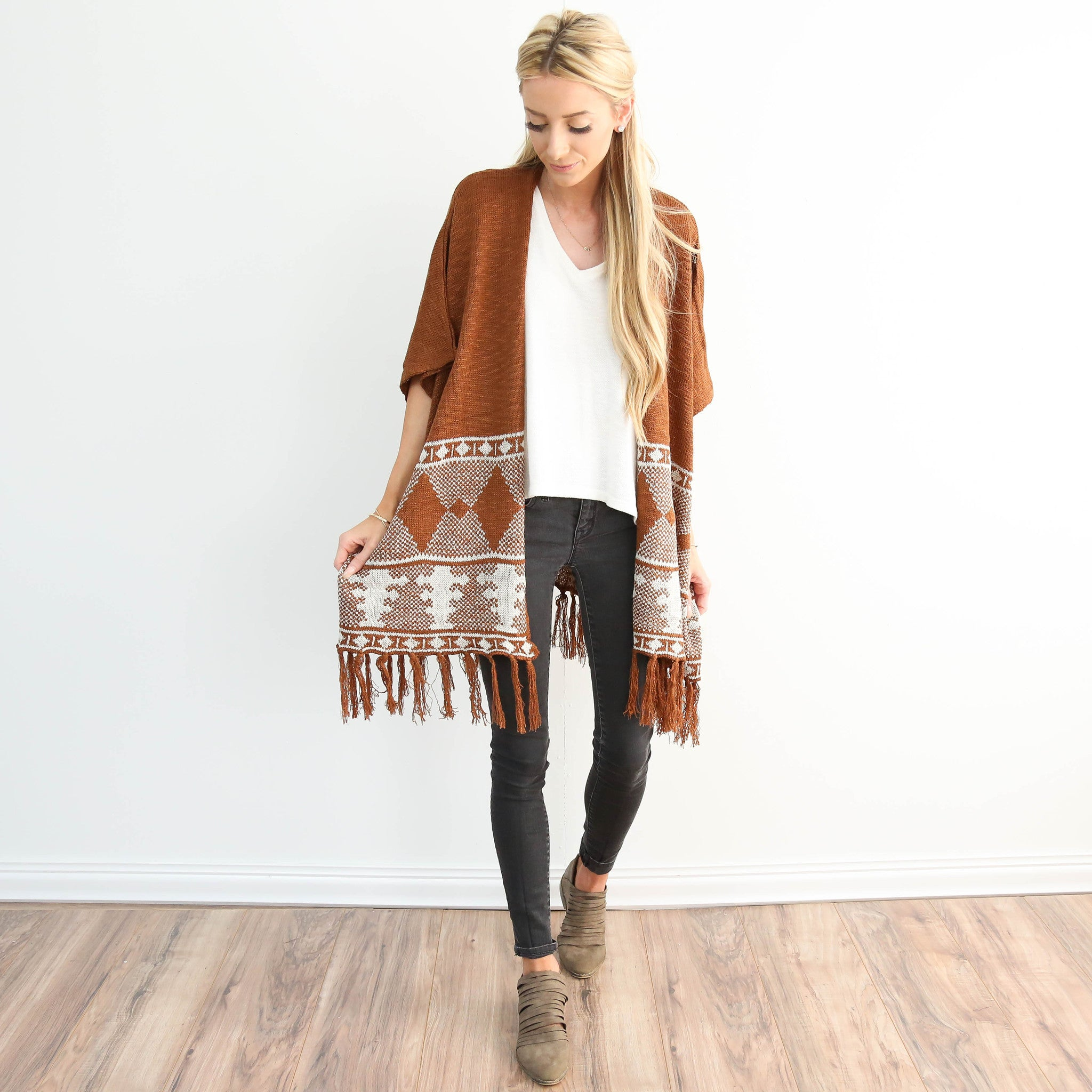 Southwest Knit Cardigan in Brown