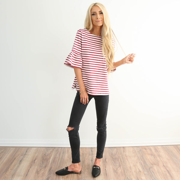 Heart Red Stripe Top