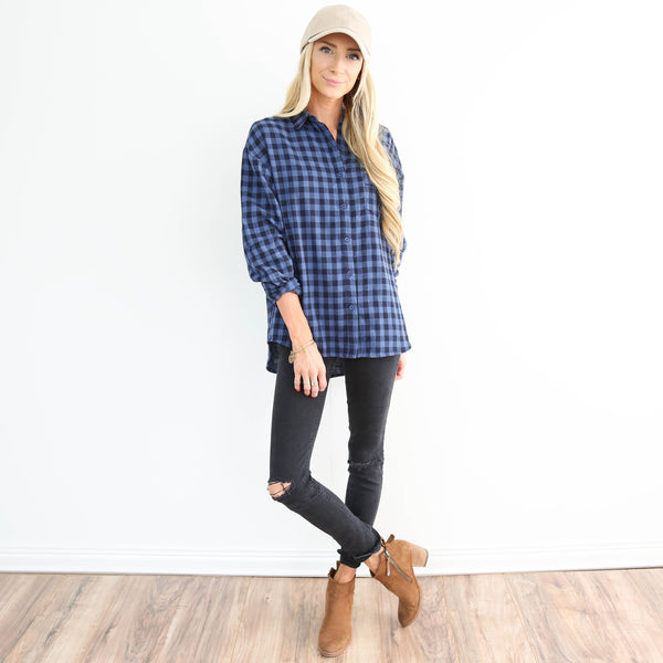 Mesquite Blue Check Top