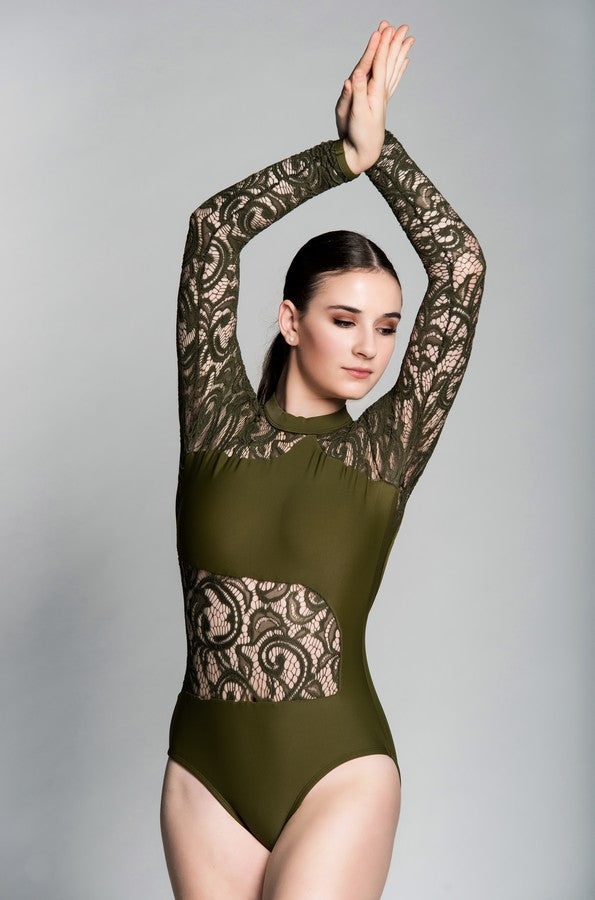 ASHTON ADULT LEOTARD: LONG SLEEVE LACE