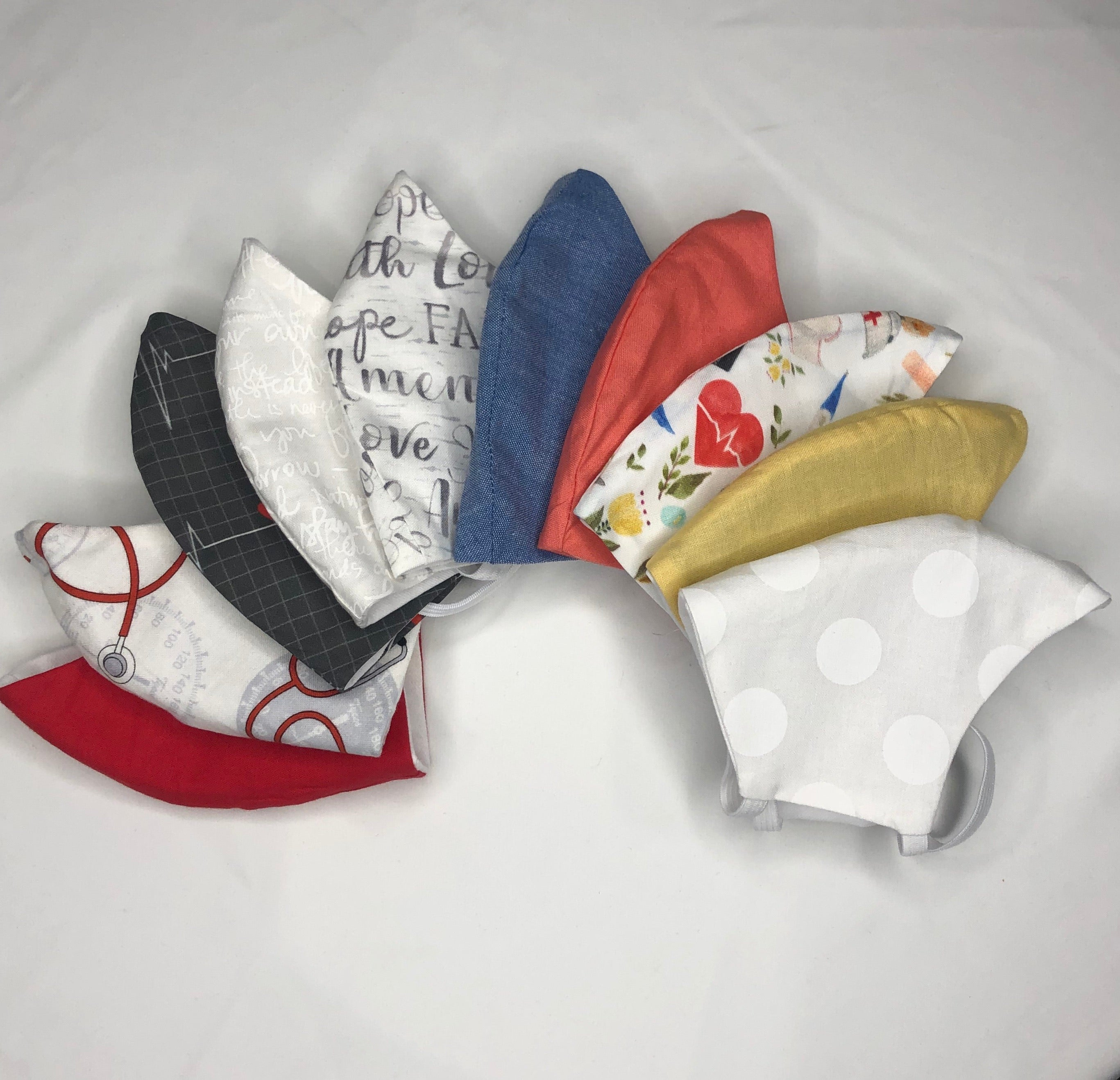 A-MIXED VARIETY BUNDLE OF 5 WOMEN NURSE'S MASKS