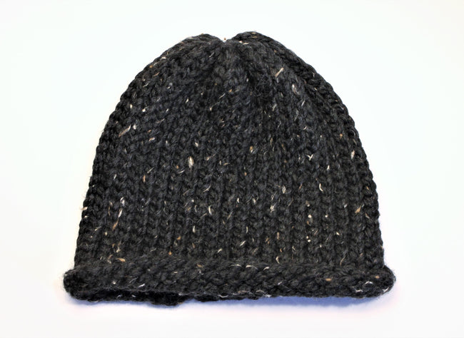 Black Speckled Handmade Beanie- Adult/teen