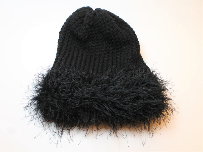 Black beanie with fuzz brim- Adult/teen