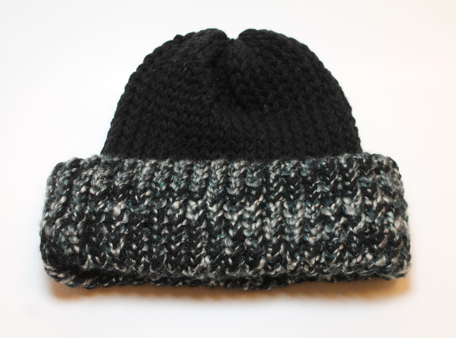 Black Beanie with speckled brim- Adult/teen