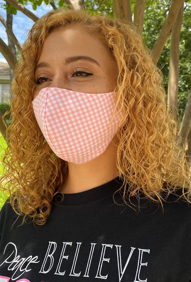 Female Face Mask: Pink/Gingham