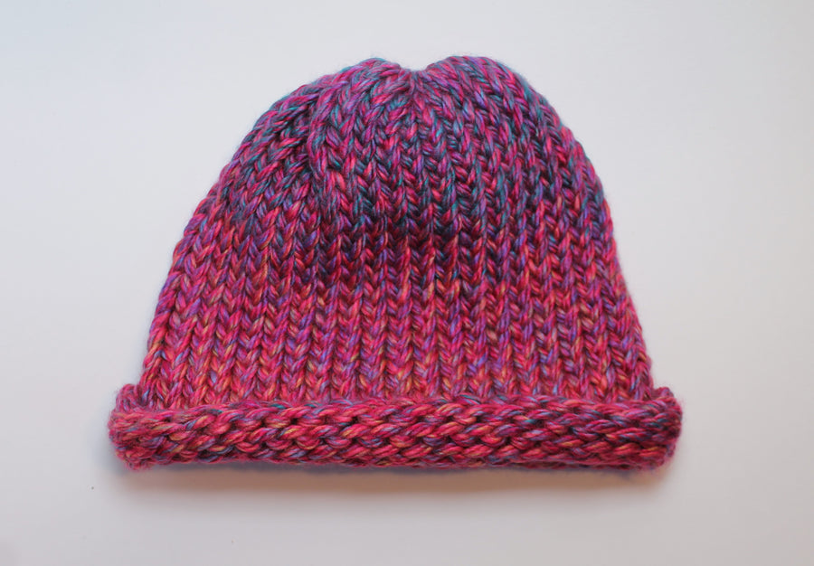 Multicolor Purple, Pink, and Blue Handmade Beanie- Adult/teen