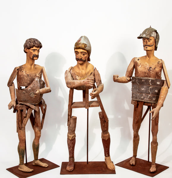 "Wooden Processional Figures (Set of 3) ""Spain-Circa 1650/1700"""