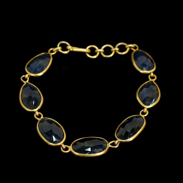 Gold and Blue 7 Oval Bracelet