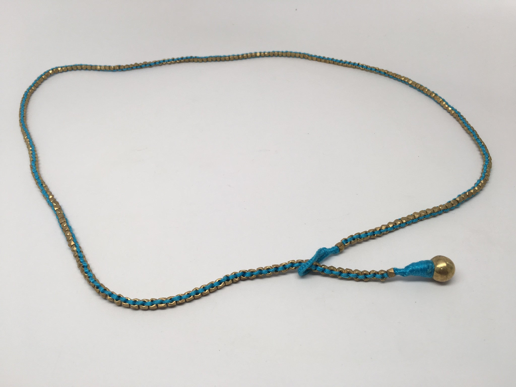 Thin Brass Necklace with Colored Lace