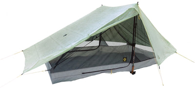 Haven Zero-G Dyneema Ultralight Tarp with one door open and the Haven NetTent inside