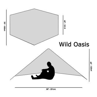 Wild Oasis Zero-G Dyneema Ultralight Tarp Diagram with size specifications