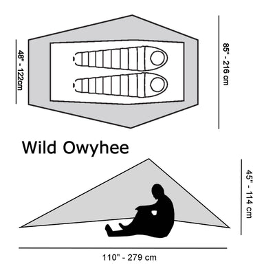 Wild Owyhee Zero-G Dyneema Ultralight Tarp Diagram with size specifications