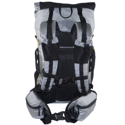 Minimalist Ultralight Backpack rear showing the shoulder straps and Hip belt