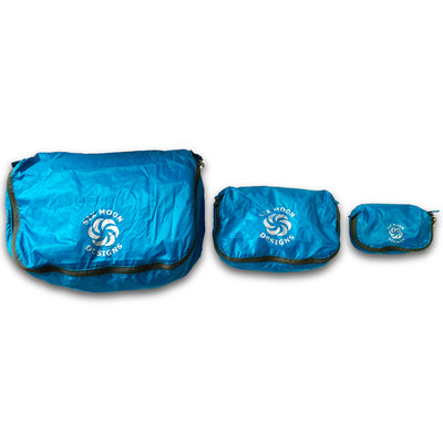 Blue Six Moon Designs Pack Pod stuff sacks in all three sizes side by side