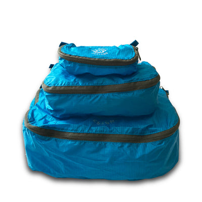 Blue Six Moon Designs Pack Pod stuff sacks in all three sizes stacked
