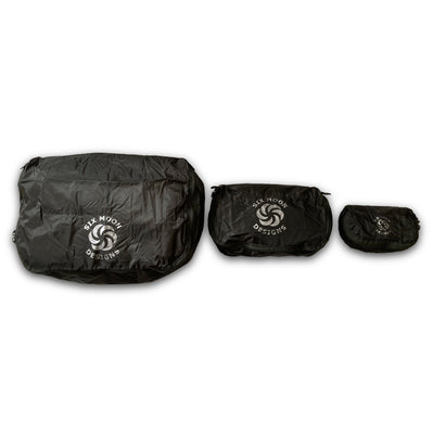 Carbon Six Moon Designs Pack Pod stuff sacks in all three sizes side by side