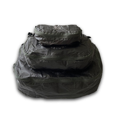 Carbon Six Moon Designs Pack Pod stuff sacks in all three sizes stacked