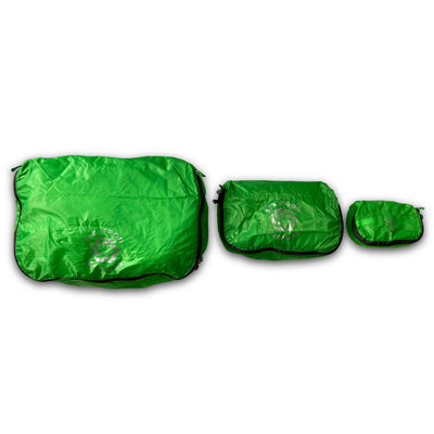 Green Six Moon Designs Pack Pod stuff sacks in all three sizes side by side