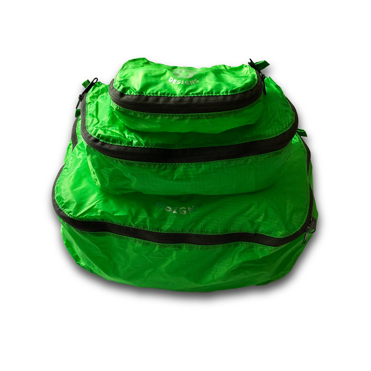 Green Six Moon Designs Pack Pod stuff sacks in all three sizes stacked