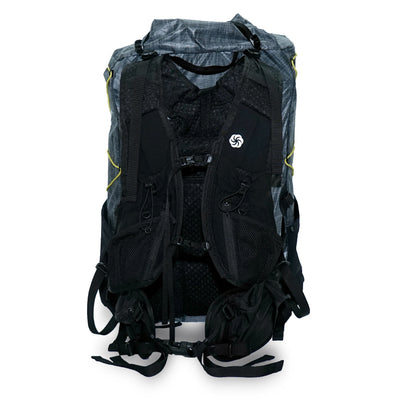 Gray Six Moon Designs Swift X Ultralight Backpacking pack rear showing UL Vest and hip belt