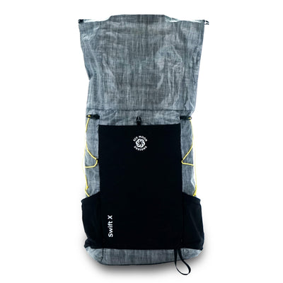 Gray Six Moon Designs Swift X Ultralight Backpacking pack w/ extension collar open
