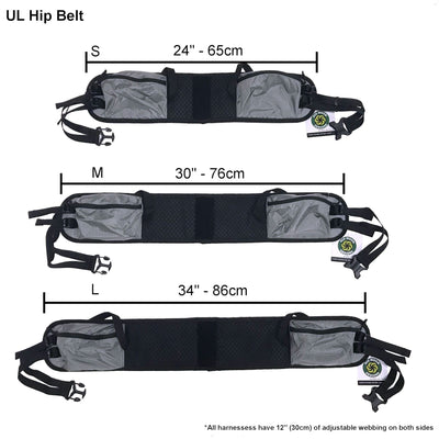Hip Belt size comparison with measurements.