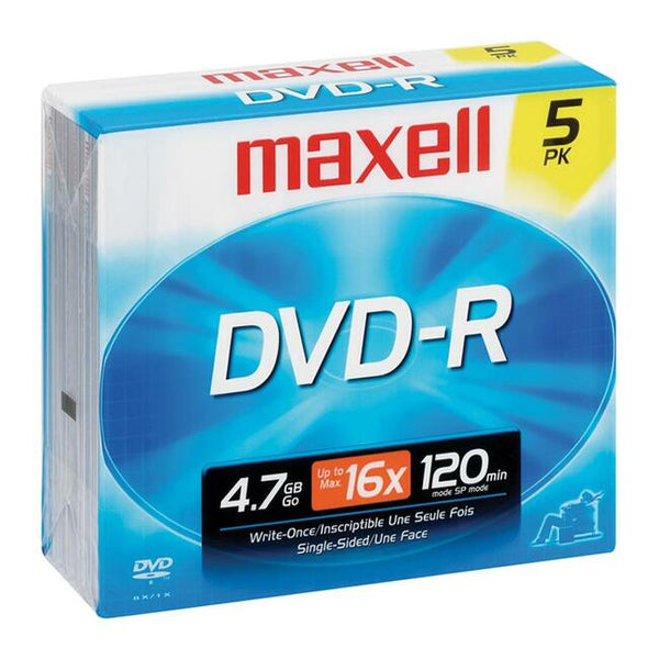Maxell DVD Recordable Media - DVD-R - 16x - 4.70 GB - 5 Pack Jewel Case (638002)