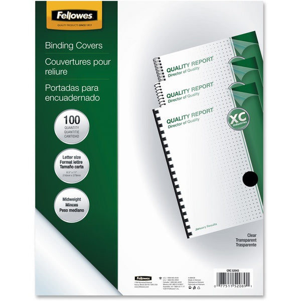 Fellowes Crystals™ Clear PVC Covers - Letter, 100 pack (52089)