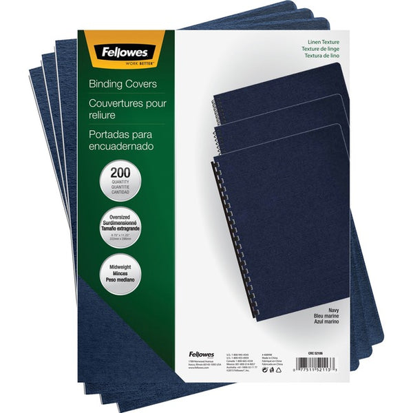 Fellowes Expressions™ Linen Presentation Covers - Oversize Navy 200 pack (52113)