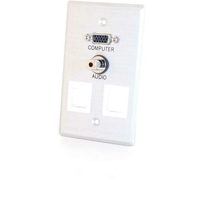 C2G VGA + 3.5mm Audio Pass Through Single Gang Wall Plate w/ 2 Keystones-Brushed Aluminum (40544)