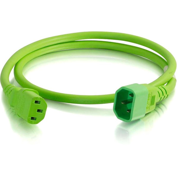 C2G 2ft 18AWG Power Cord (IEC320C14 to IEC320C13) - Green (17483)