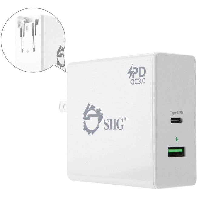 SIIG 65W USB-C PD Charger Power Delivery with QC3.0 Wall Charge (AC-PW1F12-S1)