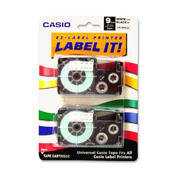 Casio-Computer Casio Label Printer Tape For Cwl-300 9Mm Black On White 2Pk (XR-9WE2S)