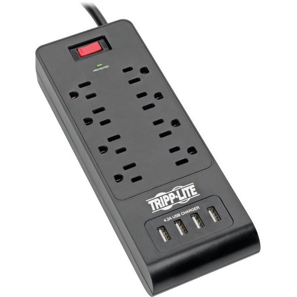 Tripp Lite Surge Protector Power Strip 8-Outlets 4 USB Ports 6ft Cord Black (TLP864USBB)