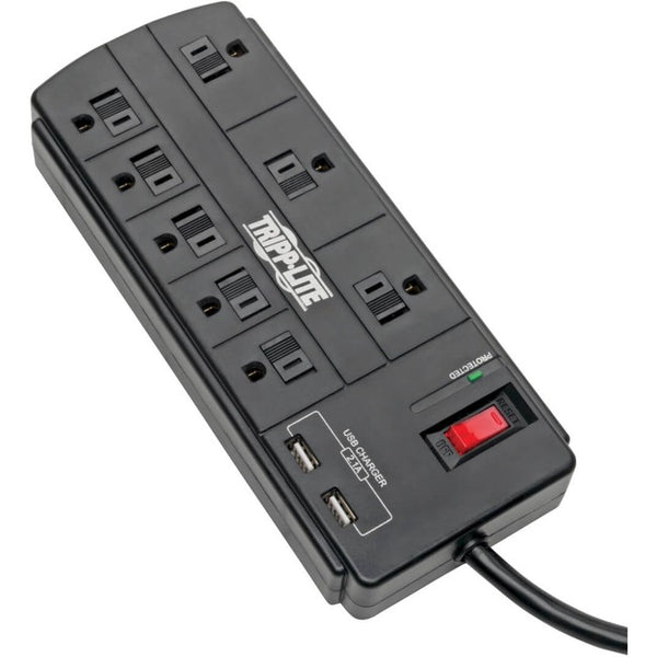 Tripp Lite Surge Protector Power Strip 8-Outlet 2 USB Charging Ports 8ft Cord (TLP88USBB)