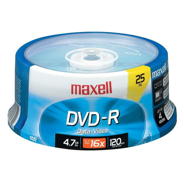 Maxell DVD Recordable Media - DVD-R - 16x - 4.70 GB - 25 Pack Spindle (638010)