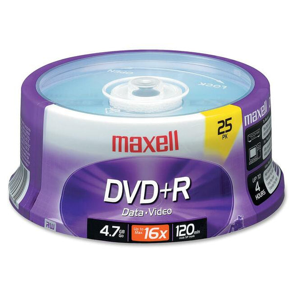 Maxell DVD Recordable Media - DVD+R - 16x - 4.70 GB - 25 Pack Spindle (639011)